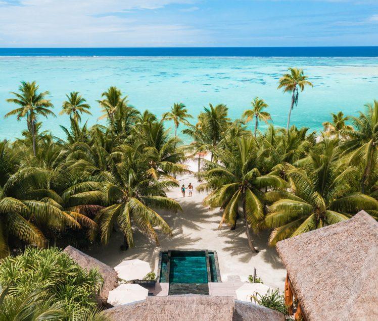 The Brando Luxury Resort - Tetiaroa Private Island, French Polynesia - The Brando Residence Beachfront Pool Aerial