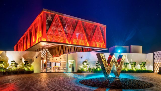 W Goa Vagator Beach Luxury Resort - Goa, India - Front Entrance Porte Cochere Night