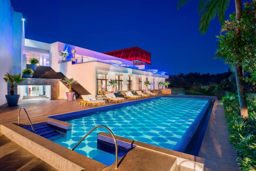 W Goa Vagator Beach Luxury Resort - Goa, India - WET Reflective Pond Night