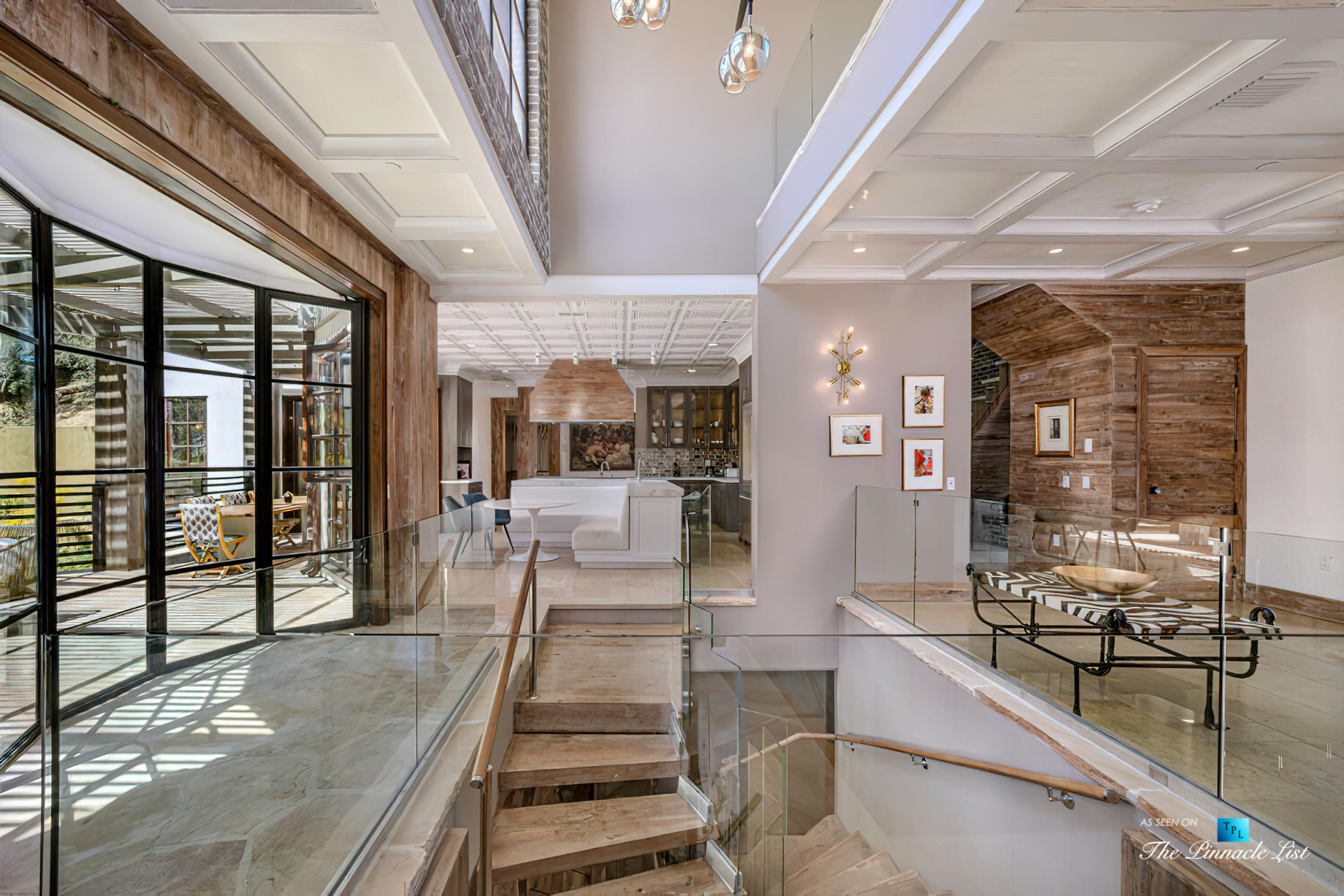 1105 Rivas Canyon Rd, Pacific Palisades, CA, USA – Luxury Real Estate – Entrance Stairs and Living Room