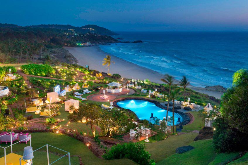 W Goa Vagator Beach Luxury Resort - Goa, India - ROCKPOOL Aerial View Twilight