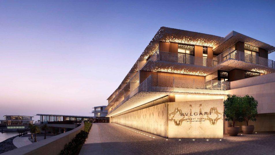 Bvlgari Luxury Resort Dubai - Jumeira Bay Island, Dubai, UAE - Resort Entrance at Dusk