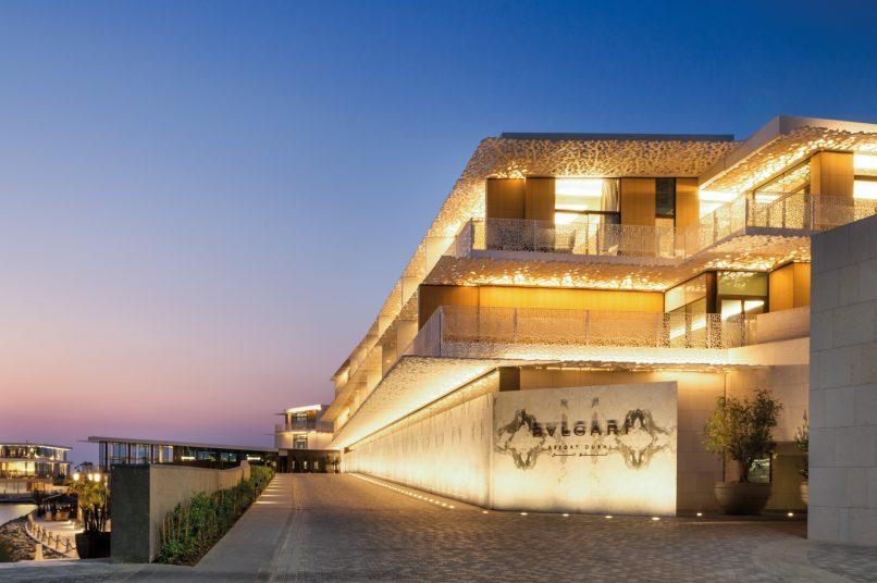 Bvlgari Luxury Resort Dubai - Jumeira Bay Island, Dubai, UAE - Resort Entrance at Dawn