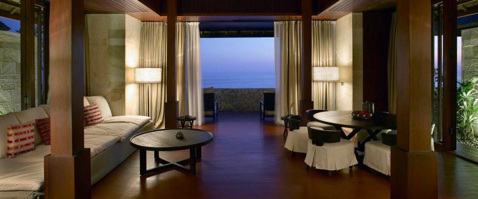 Bvlgari Luxury Resort Bali - Uluwatu, Bali, Indonesia - Ocean Cliff Villa Living Room Ocean View Twilight