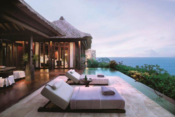 Bvlgari Luxury Resort Bali - Uluwatu, Bali, Indonesia - Ocean Cliff Villa Pool Deck Ocean View Dusk