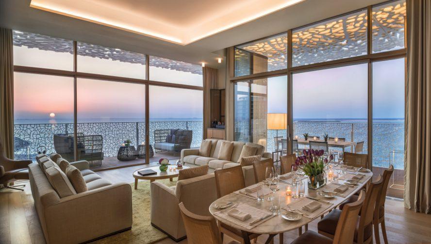 Bvlgari Luxury Resort Dubai - Jumeira Bay Island, Dubai, UAE - Bulgari Suite Living Room Sunset