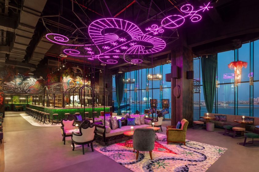 W Dubai The Palm Luxury Resort - Dubai, UAE - SoBe Rooftop Bar Night View