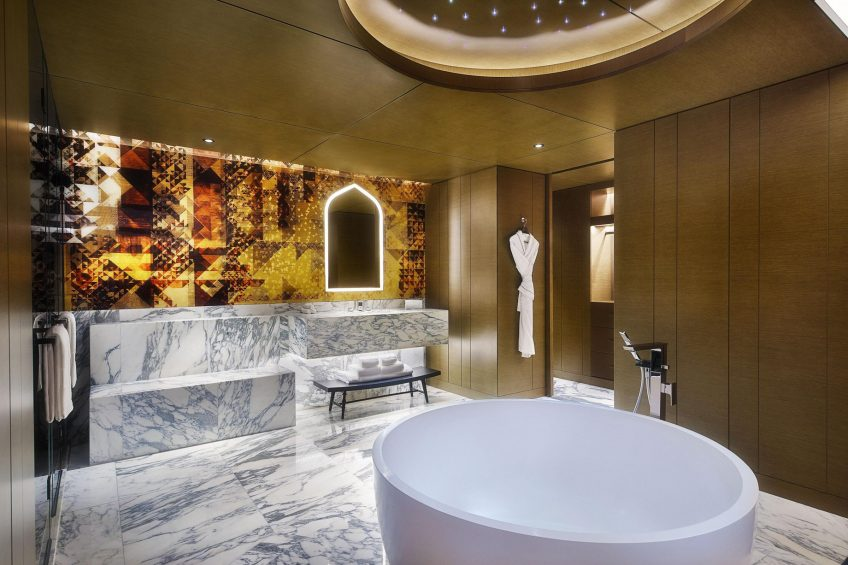 W Muscat Luxury Resort - Muscat, Oman - Suite Gold Bathroom and Tub