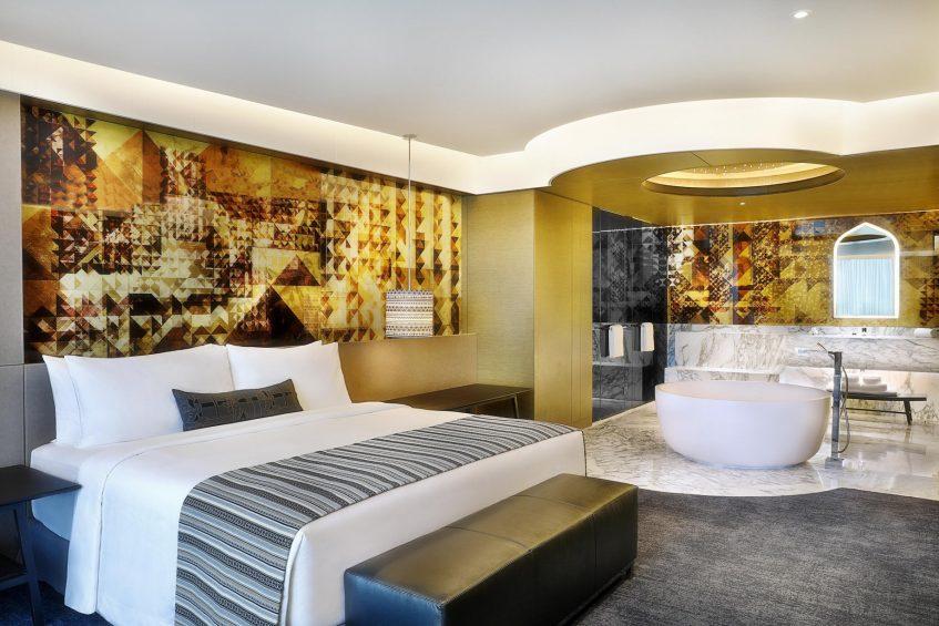 W Muscat Luxury Resort - Muscat, Oman - Marvelous Suite King Bedroom and Bathroom