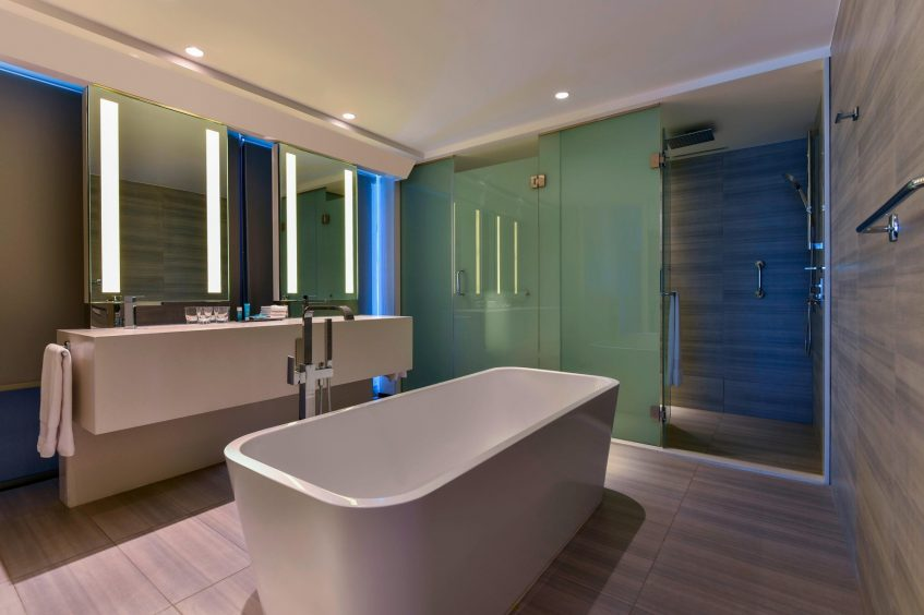 W Amman Luxury Hotel - Amman, Jordan - Marvelous Bathroom Tub and Shower_