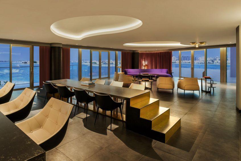 W Dubai The Palm Luxury Resort - Dubai, UAE - WOW Living Room Sunset