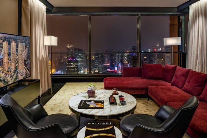 Bvlgari Luxury Hotel Shanghai - Shanghai, China - Suite Living Room Night View