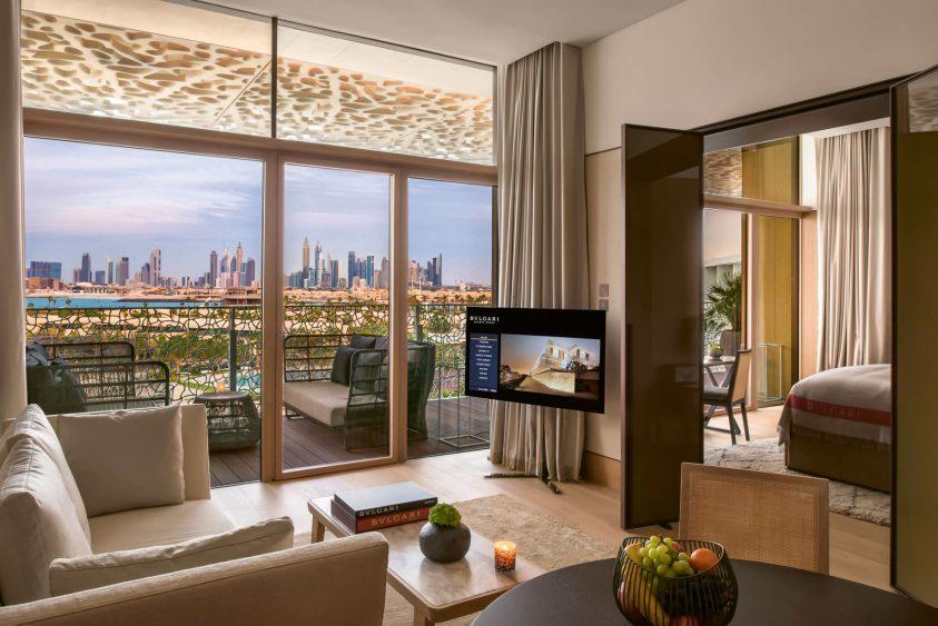 Bvlgari Luxury Resort Dubai - Jumeira Bay Island, Dubai, UAE - Guest Suite Living Room and Bedroom City View
