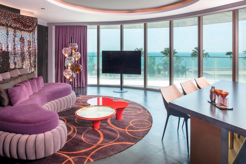 W Dubai The Palm Luxury Resort - Dubai, UAE - Cool Corner Suite Living Room