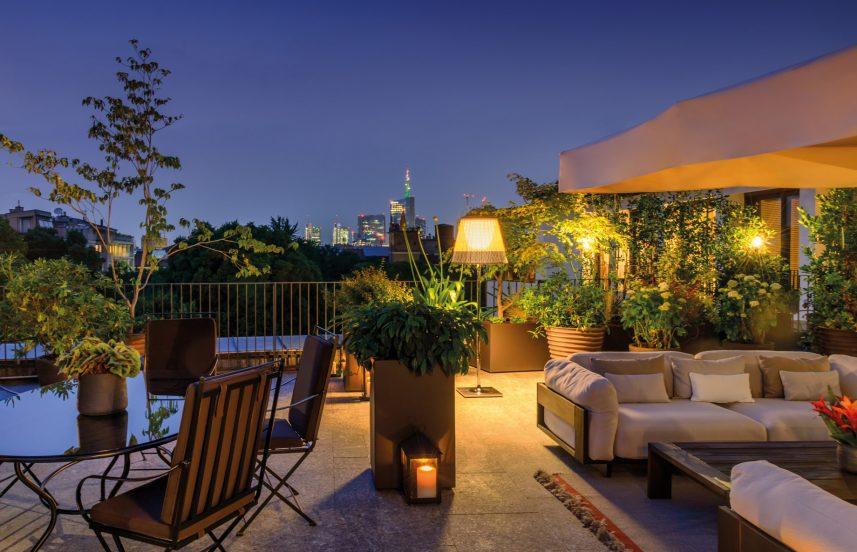 Bvlgari Luxury Hotel Milano - Milan, Italy - Bvlgari Rooftop Garden Terrace Night View