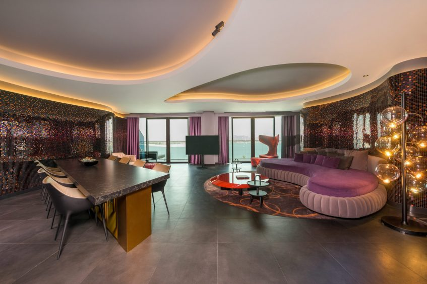 W Dubai The Palm Luxury Resort - Dubai, UAE - Marvelous Suite Living Room