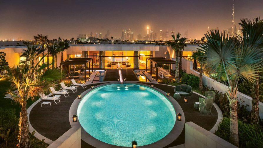 Bvlgari Luxury Resort Dubai - Jumeira Bay Island, Dubai, UAE - Bvlgari Villa Night Aerial City View