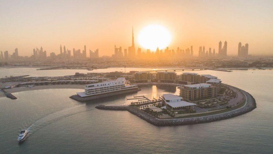 Bvlgari Luxury Resort Dubai - Jumeira Bay Island, Dubai, UAE - Resort Aerial Sunrise City View