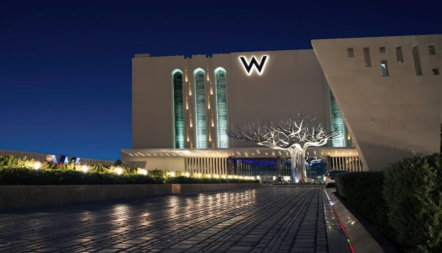 W Muscat Luxury Resort - Muscat, Oman - Front Entrance Night View