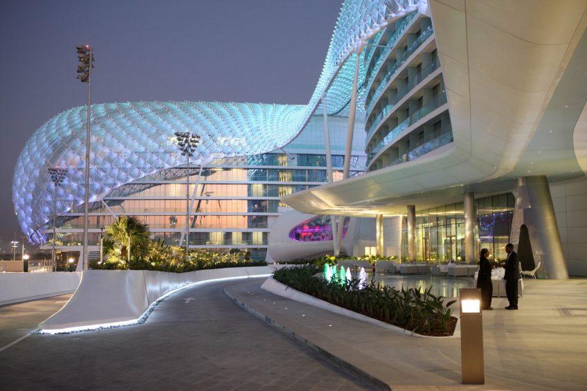 W Abu Dhabi Yas Island Luxury Hotel - Abu Dhabi, UAE - Hotel Exterior Etrance Night