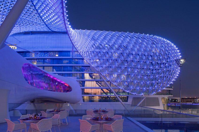 W Abu Dhabi Yas Island Luxury Hotel - Abu Dhabi, UAE - Hotel Exterior Night