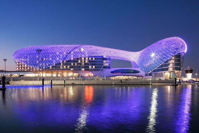 W Abu Dhabi Yas Island Luxury Hotel - Abu Dhabi, UAE - Hotel Exterior Water View Night
