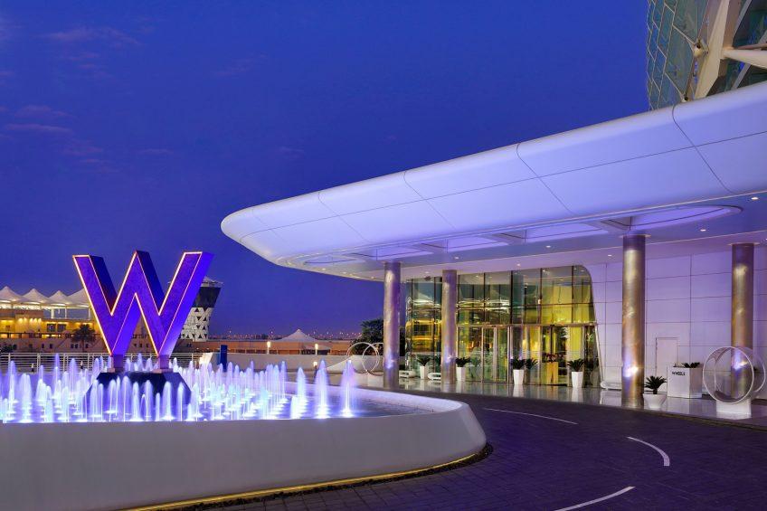 W Abu Dhabi Yas Island Luxury Hotel - Abu Dhabi, UAE - W Hotel Front Entrance Night View