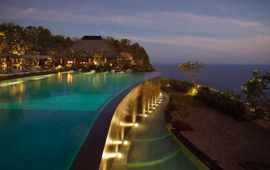 Bvlgari Luxury Resort Bali - Uluwatu, Bali, Indonesia - The Cliff Side Pool Sunset