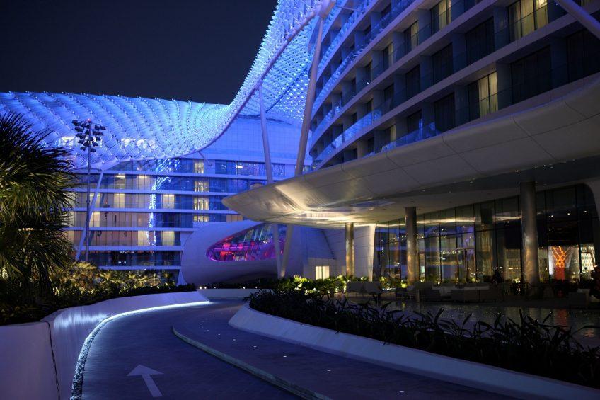 W Abu Dhabi Yas Island Luxury Hotel - Abu Dhabi, UAE - Hotel Front Entrance Night
