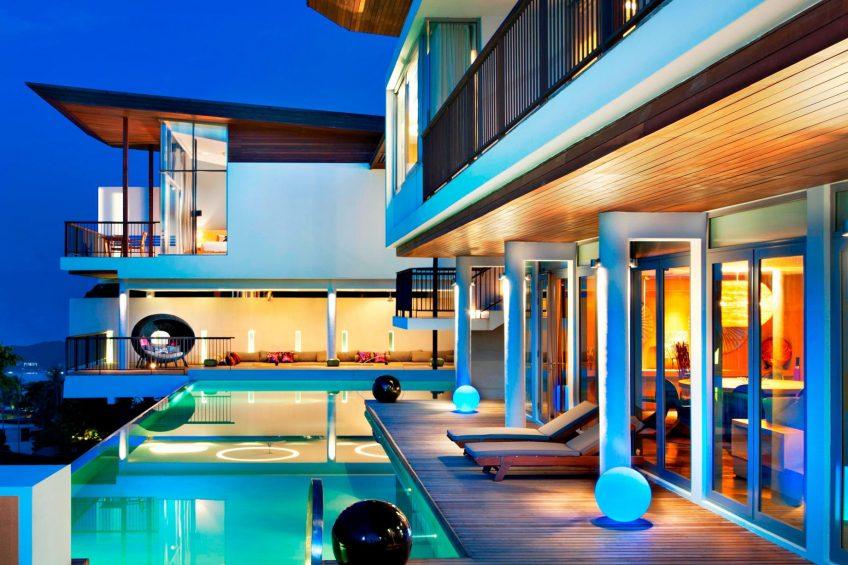 W Koh Samui Luxury Resort - Thailand - Extreme WOW Ocean Haven Villa Pool Deck at Night