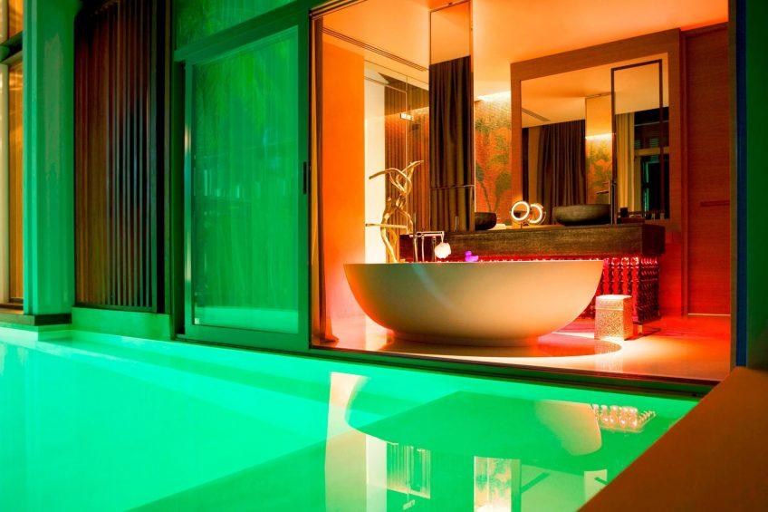 W Koh Samui Luxury Resort - Thailand - Villa Bathroom Freestanding Tub at Night