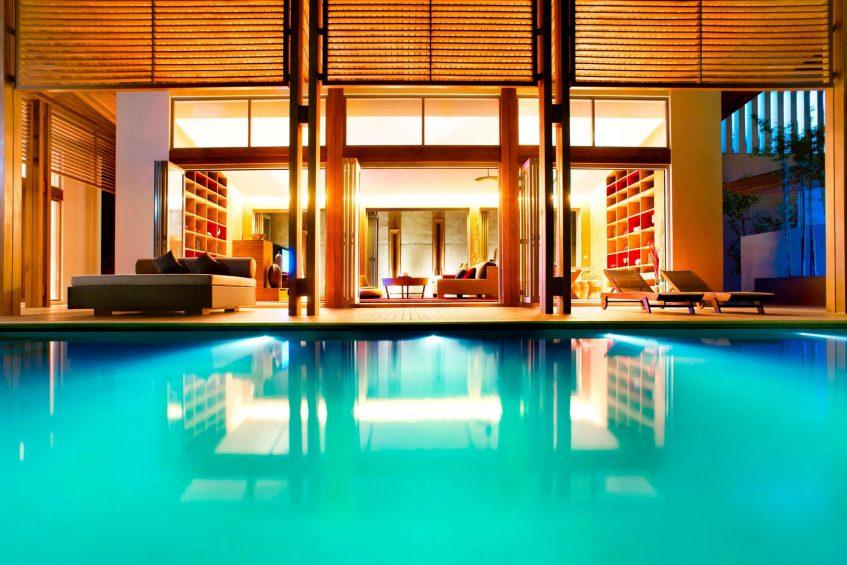 W Koh Samui Luxury Resort - Thailand - Residence Villa Living Room Pool View at Night