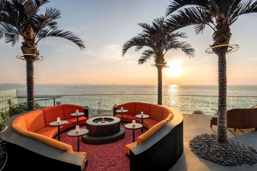 W Dubai The Palm Luxury Resort - Dubai, UAE - SoBe Rooftop Bar Sunset Ocean View