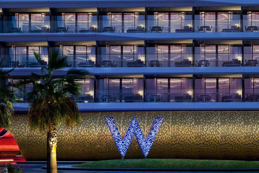 W Dubai The Palm Luxury Resort - Dubai, UAE - W Monument Hotel Front Night View