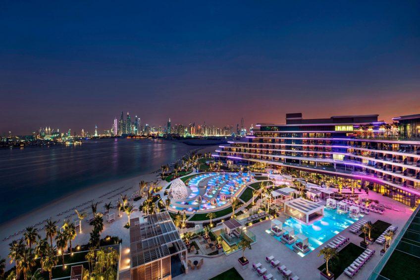 W Dubai The Palm Luxury Resort - Dubai, UAE - WET Pool Deck and Lounge Night View