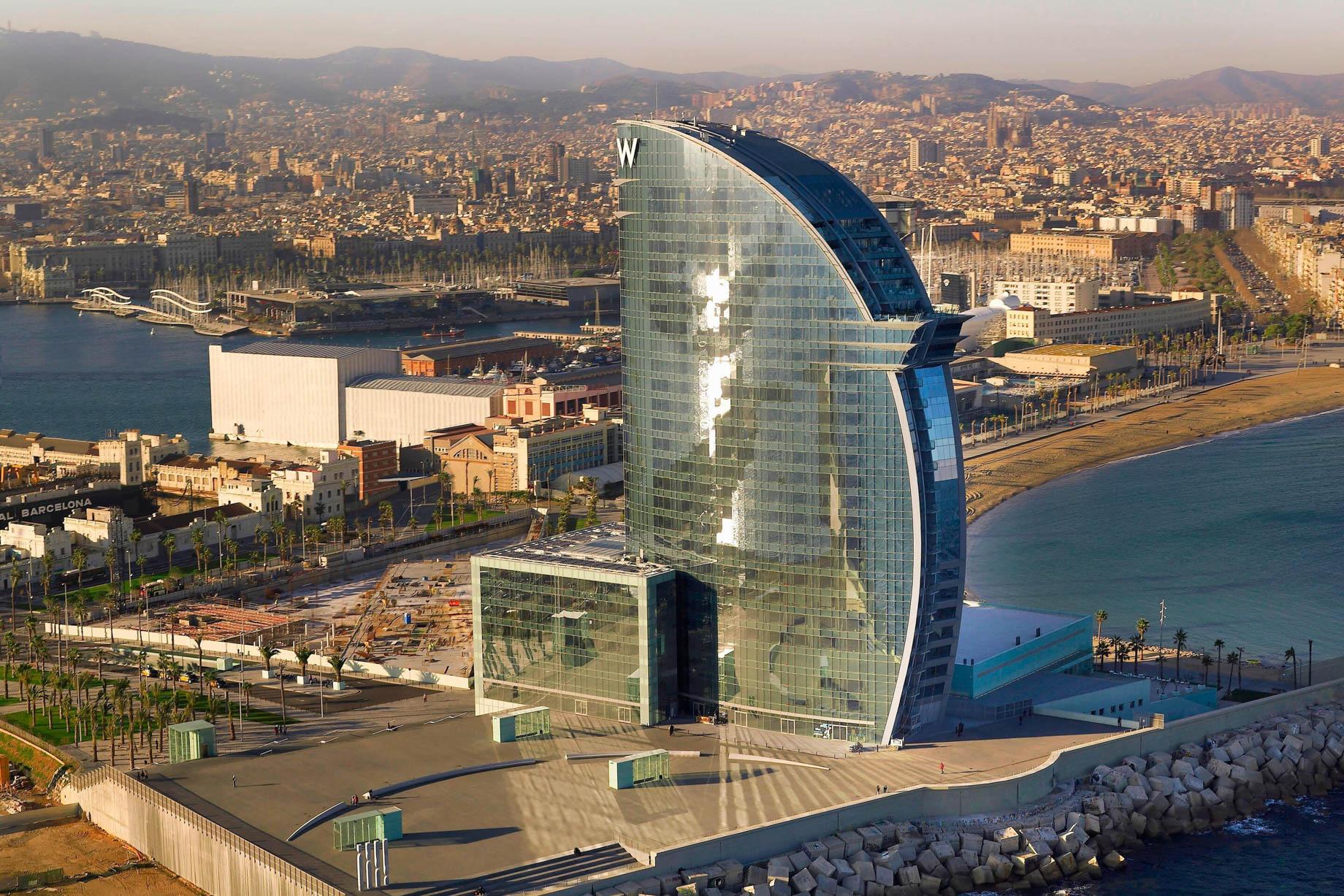 W Barcelona Luxury Hotel - Barcelona, Spain - Hotel City View Aerial