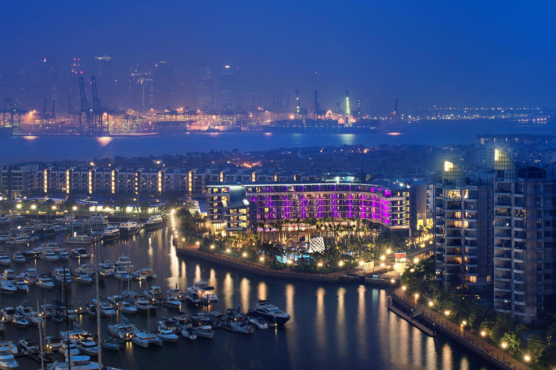 W Singapore Sentosa Cove Luxury Hotel - Singapore - Aerial View Night