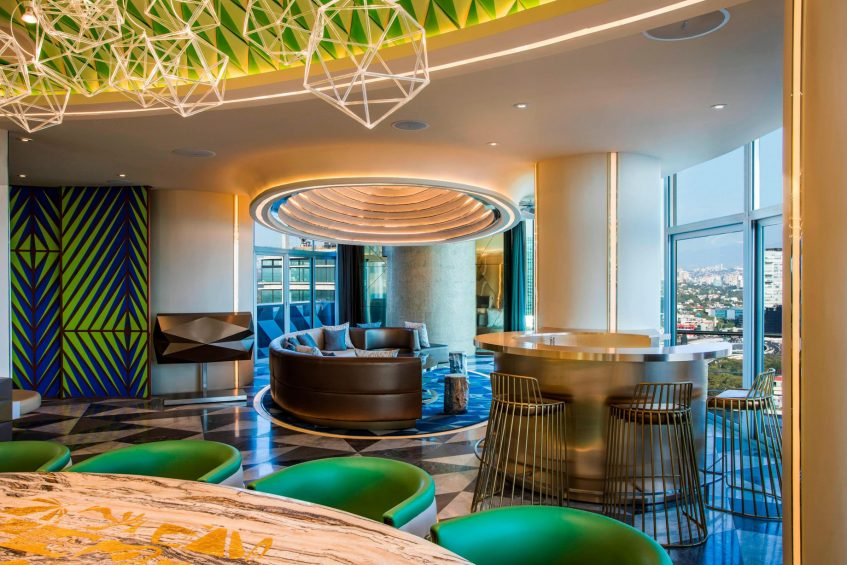 W Mexico City Luxury Hotel - Polanco, Mexico City, Mexico - E WOW Suite Living Room and Bar Style