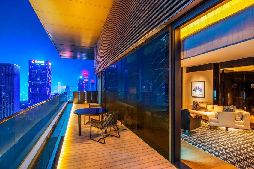 W Guangzhou Luxury Hotel - Tianhe District, Guangzhou, China - Marvelous Suite Balcony Night