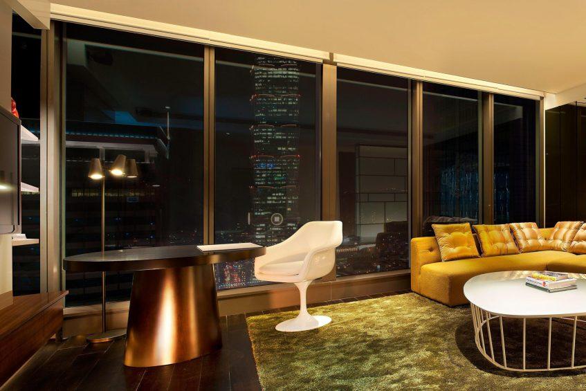 W Taipei Luxury Hotel - Taipei, Taiwan - Fantastic Suite Living Room Night