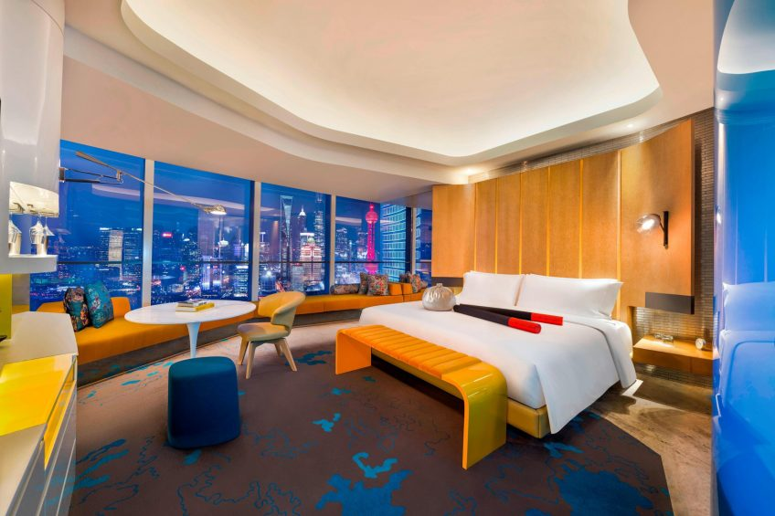 W Shanghai The Bund Luxury Hotel - Shanghai, China - Spectacular Guest Room Night View