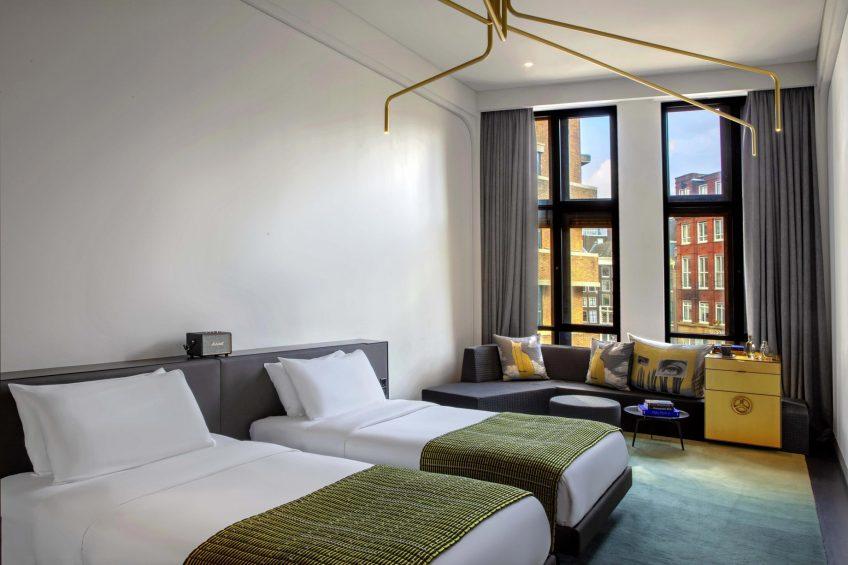 W Amsterdam Luxury Hotel - Amsterdam, Netherlands - Fabulous Bank Guest Room Twin