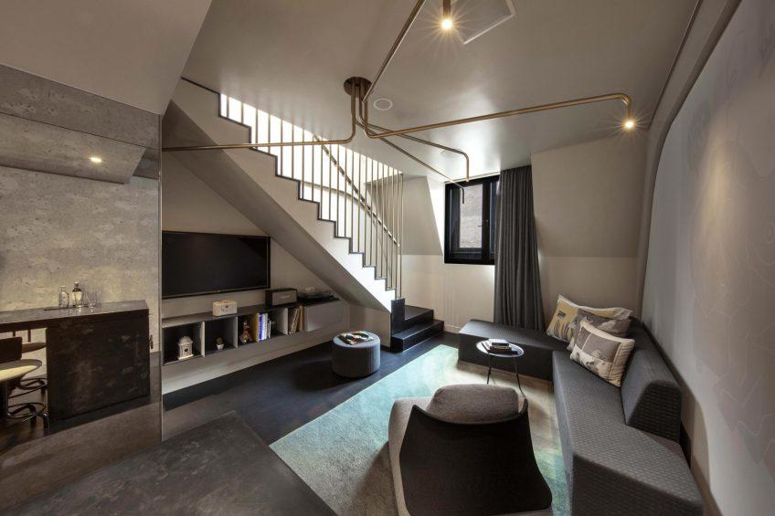 W Amsterdam Luxury Hotel - Amsterdam, Netherlands - Marvelous Bank One Bedroom Bi Level Loft Living Room