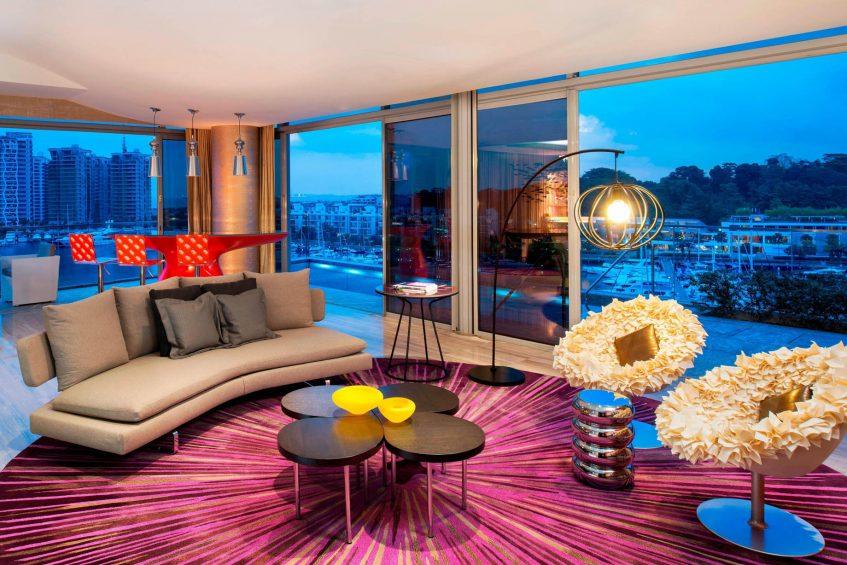 W Singapore Sentosa Cove Luxury Hotel - Singapore - WOW Suite Living Room