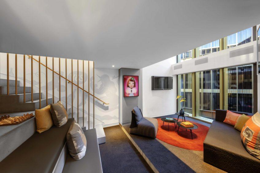 W Amsterdam Luxury Hotel - Amsterdam, Netherlands - Marvelous Exchange One Bedroom Loft Living Area