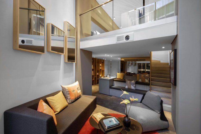 W Amsterdam Luxury Hotel - Amsterdam, Netherlands - Marvelous Exchange One Bedroom Loft Living Room