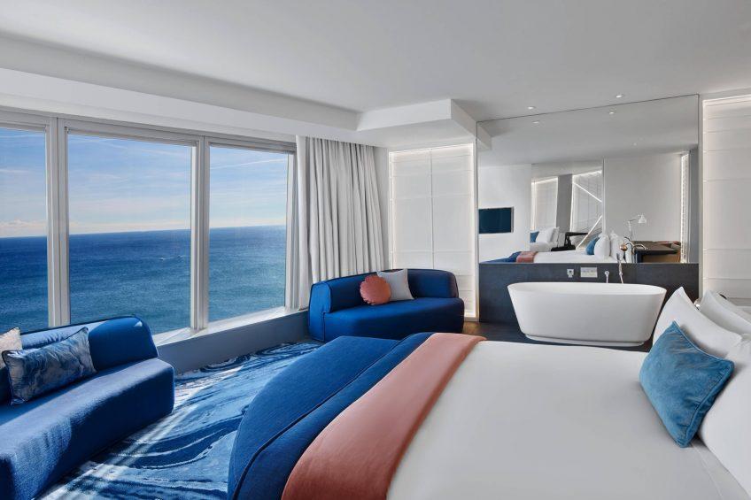 W Barcelona Luxury Hotel - Barcelona, Spain - Cool Corner Suite Bedroom and Bathroom
