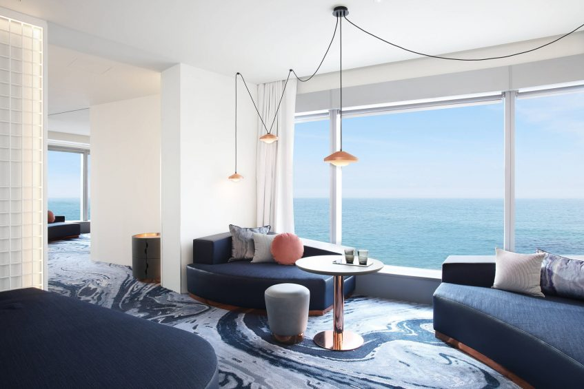 W Barcelona Luxury Hotel - Barcelona, Spain - Cool Corner Suite Living Room View