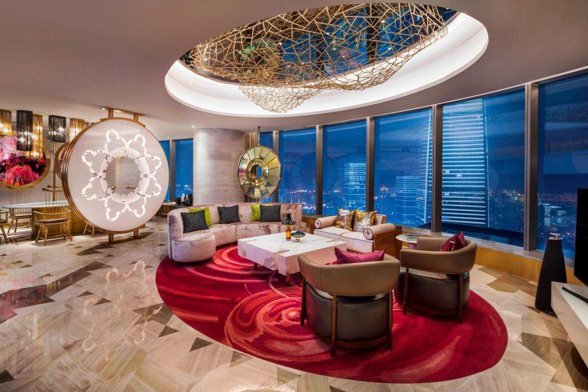 W Suzhou Luxury Hotel - Suzhou, China - WOW Suite Living Room Night