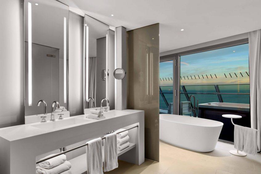 W Barcelona Luxury Hotel - Barcelona, Spain - WOW Suite Vanity and Tub